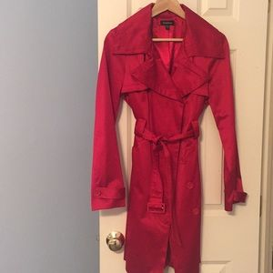 Red Satin Trench Coat by Bebe